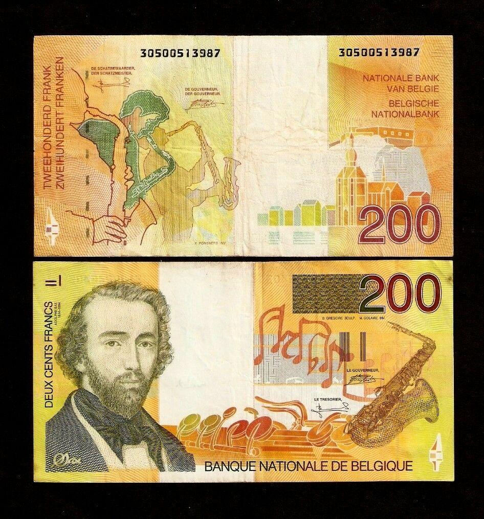 Belgium-200-Francs-P148-1995-Euro-A-Sax